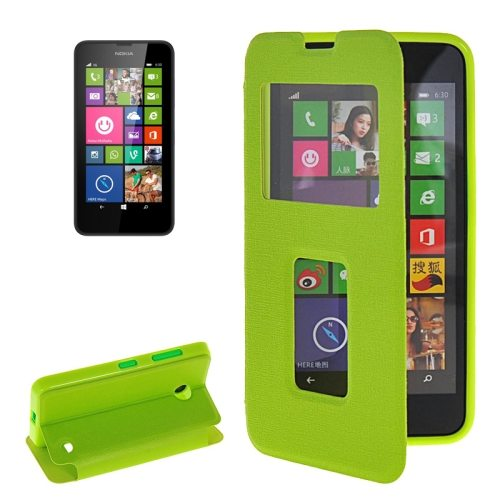 Horizontal Flip Leather Case for Microsoft Lumia 630 with Call Display ID & Holder(Green)