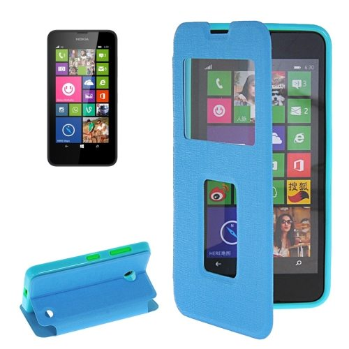 Horizontal Flip Leather Case for Microsoft Lumia 630 with Call Display ID & Holder(Blue)