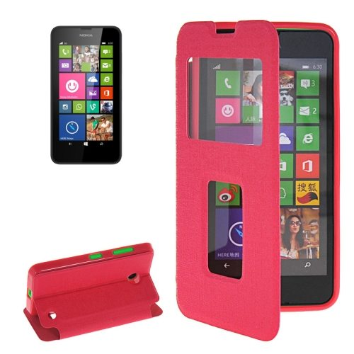 Horizontal Flip Leather Case for Microsoft Lumia 630 with Call Display ID & Holder(Rose)