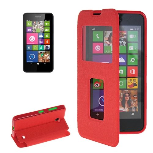 Horizontal Flip Leather Case for Microsoft Lumia 630 with Call Display ID & Holder(Red)