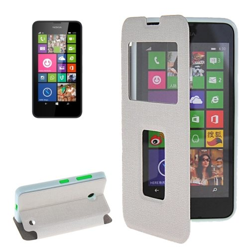 Horizontal Flip Leather Case for Microsoft Lumia 630 with Call Display ID & Holder(White)