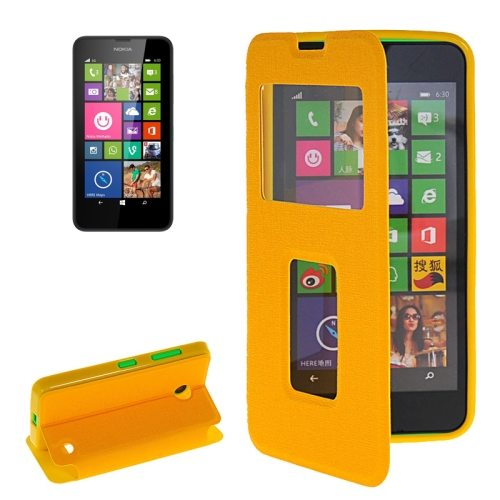 Horizontal Flip Leather Case for Microsoft Lumia 630 with Call Display ID & Holder(Yellow)