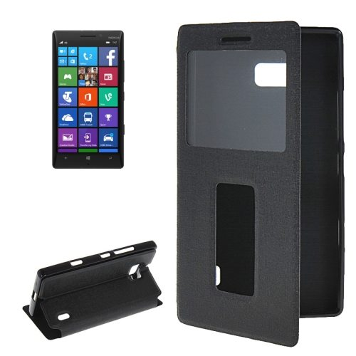 Horizontal Flip Leather Case for Nokia Lumia 930 with Call Display ID & Holder (Black)