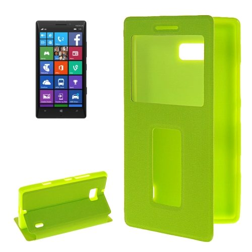 Horizontal Flip Leather Case for Nokia Lumia 930 with Call Display ID & Holder (Green)