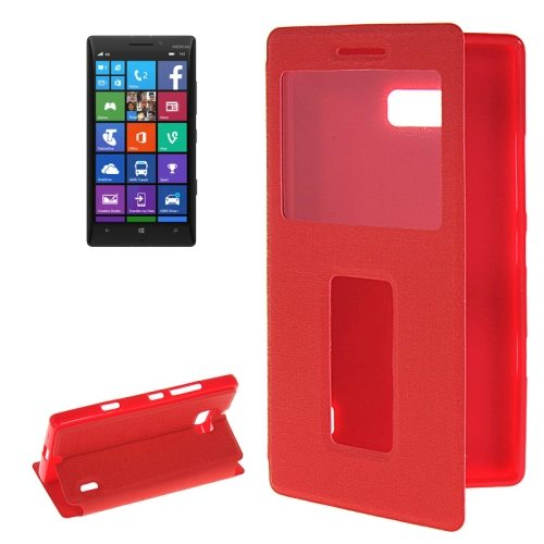Horizontal Flip Leather Case for Nokia Lumia 930 with Call Display ID & Holder (Red)