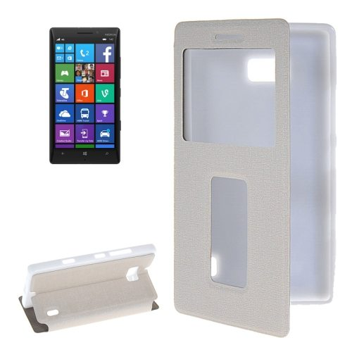 Horizontal Flip Leather Case for Nokia Lumia 930 with Call Display ID & Holder (White)
