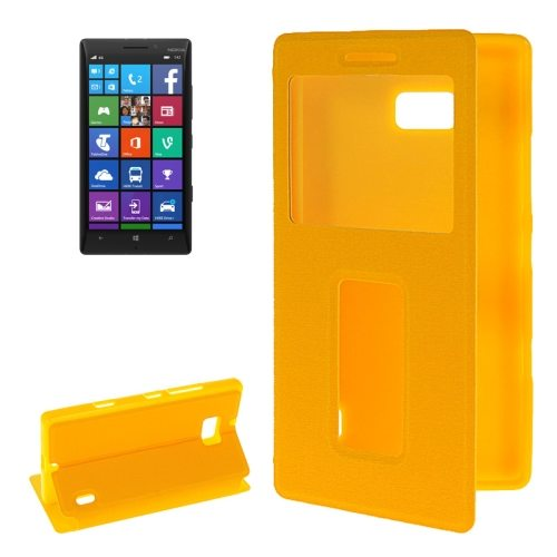 Horizontal Flip Leather Case for Nokia Lumia 930 with Call Display ID & Holder (Yellow)