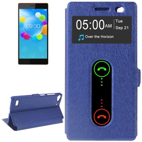 Silk Texture Flip Leather Case for Lenovo Vibe X2 with Caller ID Display Window (Dark Blue)