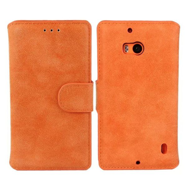 Frosted Wallet Style Flip Leather Mobile Phone Case for Nokia Lumia 930 (Orange)