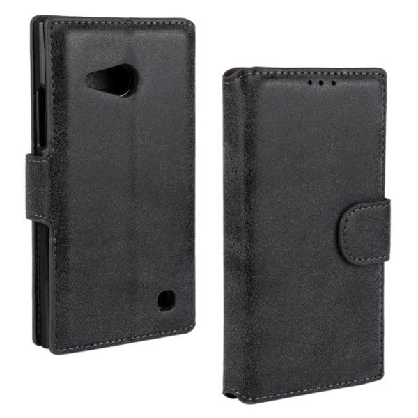 Frosted Wallet Style Flip Leather Case for Nokia Lumia 730 (Black)