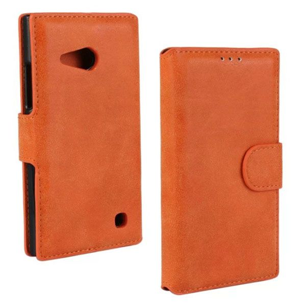 Frosted Wallet Style Flip Leather Case for Nokia Lumia 730 (Orange)