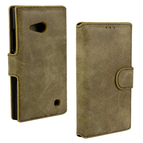 Frosted Wallet Style Flip Leather Case for Nokia Lumia 730 (Light Brown)