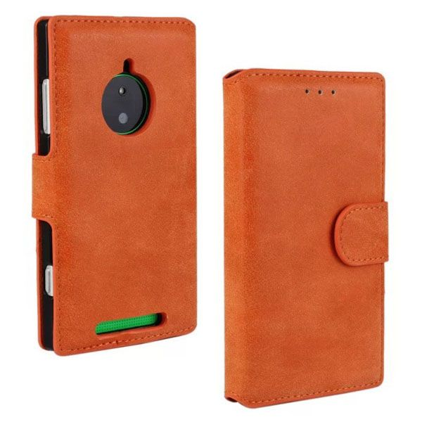 Retro Style Frosted Leather Flip Cover for Nokia Lumia 830 with Card Slots (Orange)