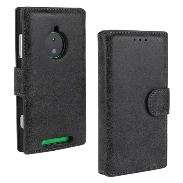 Retro Style Frosted Leather Flip Cover for Nokia Lumia 830 with Card Slots (Black)