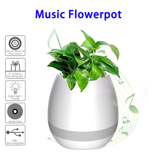 Smart Touch Plant Piano Music Playing Light Round Music Flowerpot (White)