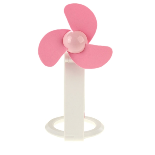 14cm*10cm HAPTIME YGH-505 Desktop Bamboo Dragonfly Design 3-Blade Handheld Portable USB Mini Fan (Pink)