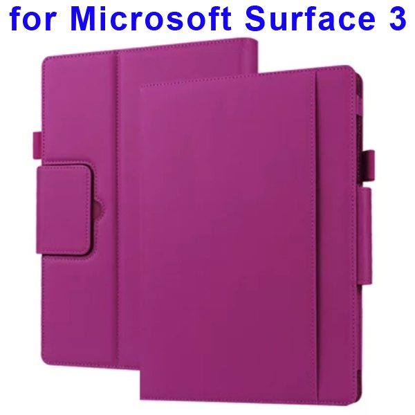 10.8 Inch Protective Flip Leather Case for Microsoft Surface 3 (Purple)