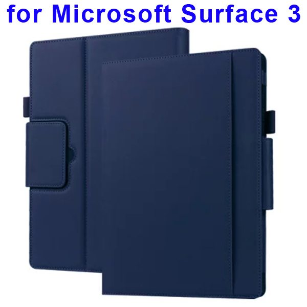 10.8 Inch Protective Flip Leather Case for Microsoft Surface 3 (Dark Blue)