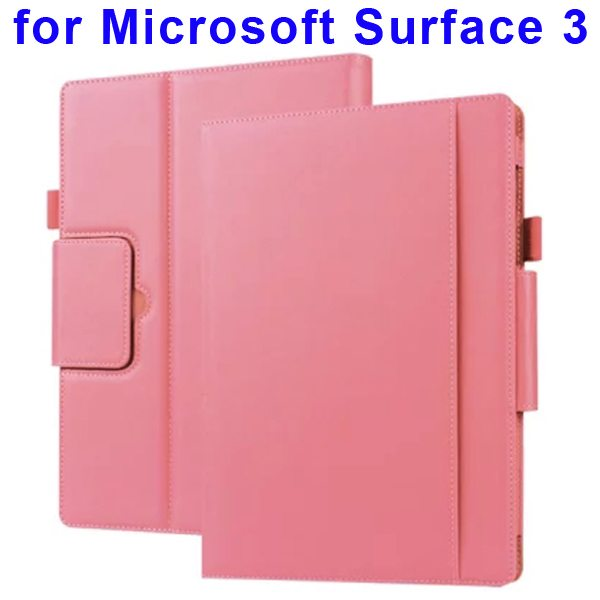 10.8 Inch Protective Flip Leather Case for Microsoft Surface 3 (Pink)