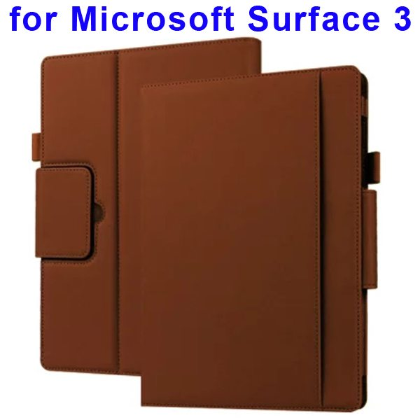 10.8 Inch Protective Flip Leather Case for Microsoft Surface 3 (Brown)