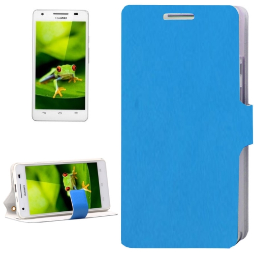 Plain Weave Texture Flip Genuine Leather Cover for Huawei Honor 3 with Card Slot (Blue)