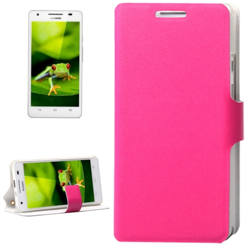 Plain Weave Texture Flip Genuine Leather Cover for Huawei Honor 3 with Card Slot (Magenta)