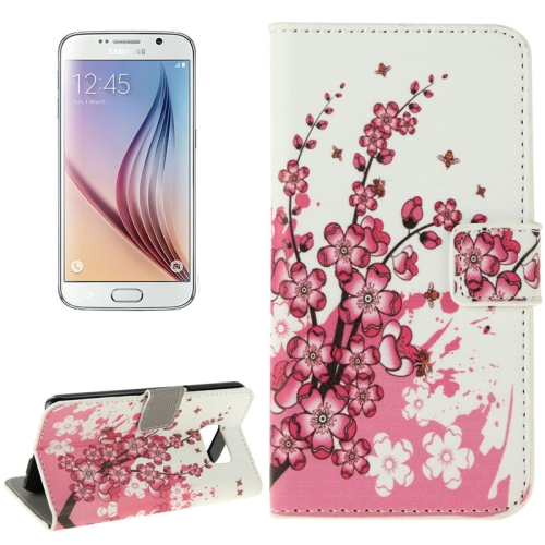 Folio Flip Leather Wallet Case for Samsung Galaxy S6/ G920 with Card Slots (Wintersweet Pattern)