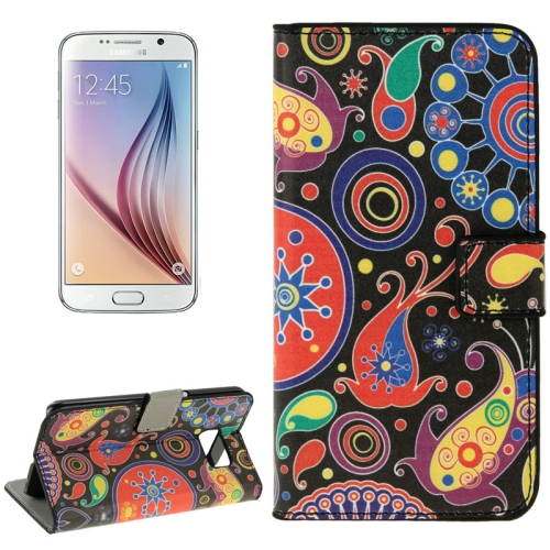 Folio Flip Leather Wallet Case for Samsung Galaxy S6/ G920 with Card Slots (Jellyfish Pattern)