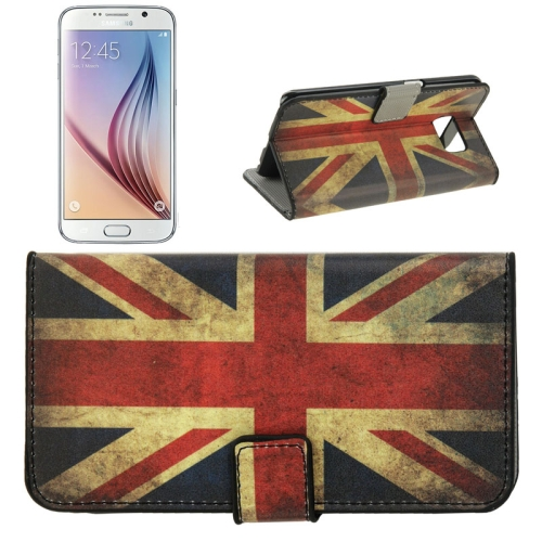 Folio Flip Leather Wallet Case for Samsung Galaxy S6/ G920 with Card Slots (Retro UK Flag Pattern)