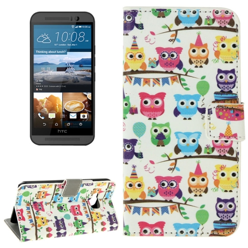 Folio Flip Wallet Leather Case Cover for HTC One M9 with Card Slots and Stand (Owl Party Pattern)