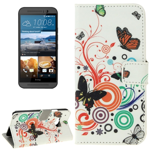 Folio Flip Wallet Leather Case Cover for HTC One M9 with Card Slots and Stand (Colorful Butterfly Pattern)