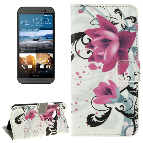 Folio Flip Wallet Leather Case Cover for HTC One M9 with Card Slots and Stand (Lotus Pattern)