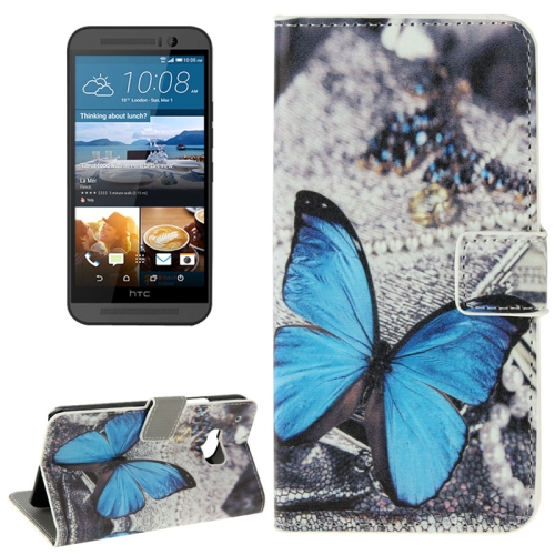 Folio Flip Wallet Leather Case Cover for HTC One M9 with Card Slots and Stand (Blue Butterfly Pattern)