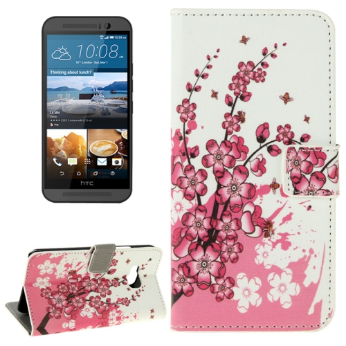 Folio Flip Wallet Leather Case Cover for HTC One M9 with Card Slots and Stand (Wintersweet Pattern)