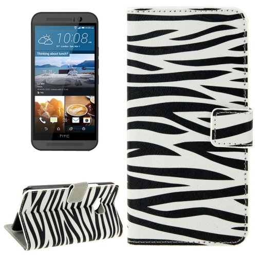 Folio Flip Wallet Leather Case Cover for HTC One M9 with Card Slots and Stand (Zebra Stripe Pattern)