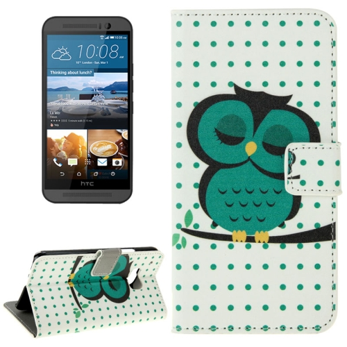 Folio Flip Wallet Leather Case Cover for HTC One M9 with Card Slots and Stand (Owl Pattern)