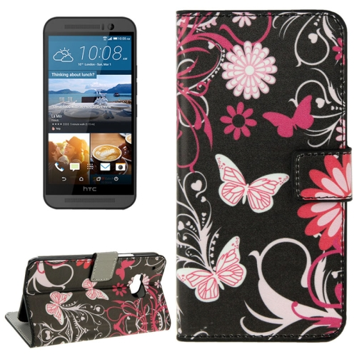 Folio Flip Wallet Leather Case Cover for HTC One M9 with Card Slots and Stand (Butterfly Pattern)