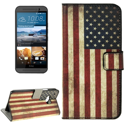 Folio Flip Wallet Leather Case Cover for HTC One M9 with Card Slots and Stand (Retro US Flag Pattern)