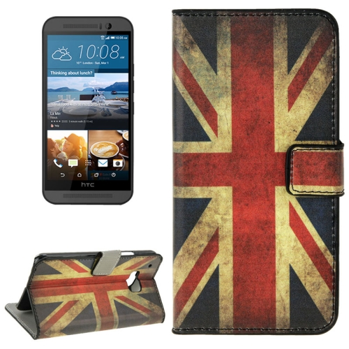 Folio Flip Wallet Leather Case Cover for HTC One M9 with Card Slots and Stand (Retro UK Flag Pattern)