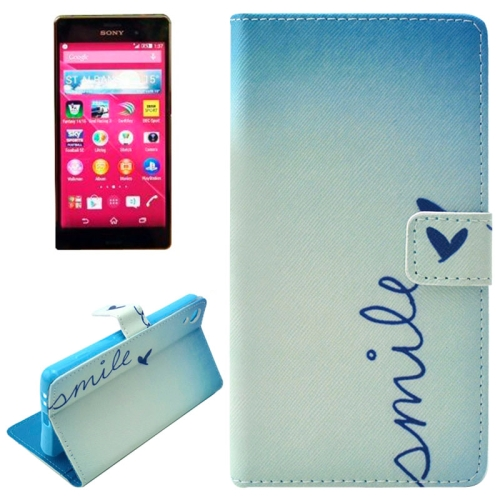 Flip Magnetic Wallet Leather Case for Sony Xperia Z4 with Card Slots (SMILE Pattern)
