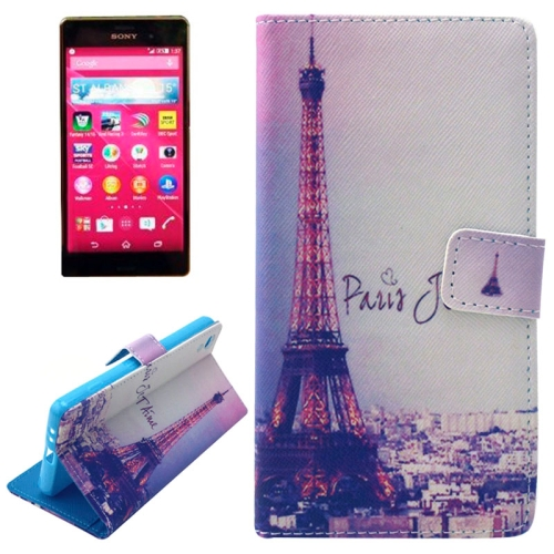 Flip Magnetic Wallet Leather Case for Sony Xperia Z4 with Card Slots (Tower Pattern)