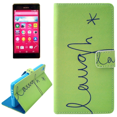 Flip Magnetic Wallet Leather Case for Sony Xperia Z4 with Card Slots (LAUGH Pattern)
