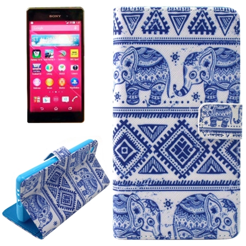Flip Magnetic Wallet Leather Case for Sony Xperia Z4 with Card Slots (Elephant Pattern)