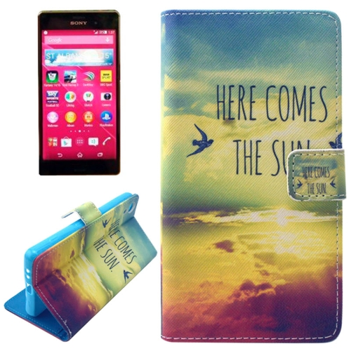 Flip Magnetic Wallet Leather Case for Sony Xperia Z4 with Card Slots (HERE COMES THE SUN Pattern)