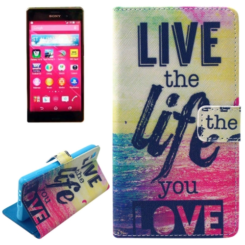 Flip Magnetic Wallet Leather Case for Sony Xperia Z4 with Card Slots (Live the Life You Love Pattern)