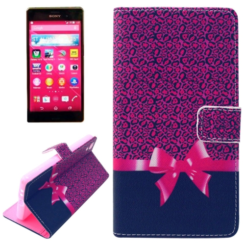 Flip Magnetic Wallet Leather Case for Sony Xperia Z4 with Card Slots (Pink Leopard Pattern)