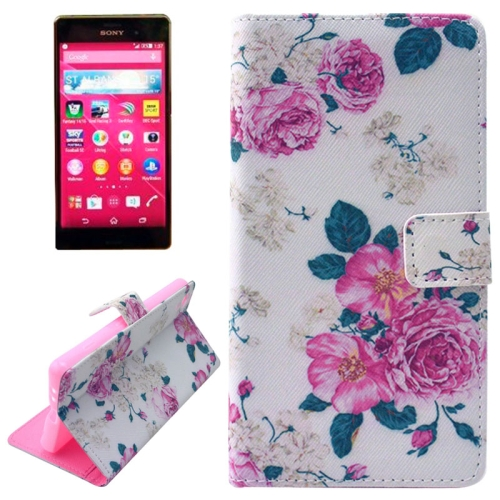Flip Magnetic Wallet Leather Case for Sony Xperia Z4 with Card Slots (Chinese Rose Pattern)