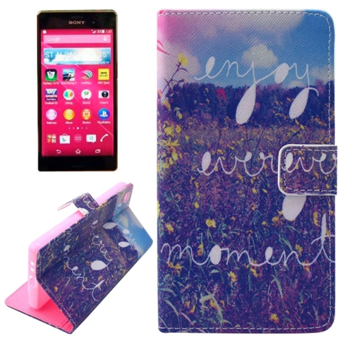 Flip Magnetic Wallet Leather Case for Sony Xperia Z4 with Card Slots (Landscape Pattern)