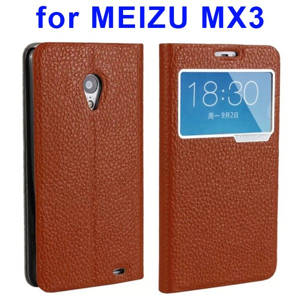 Litchi Texture Genuine Leather Cover for MEIZU MX3 with Caller ID Display Window (Brown)
