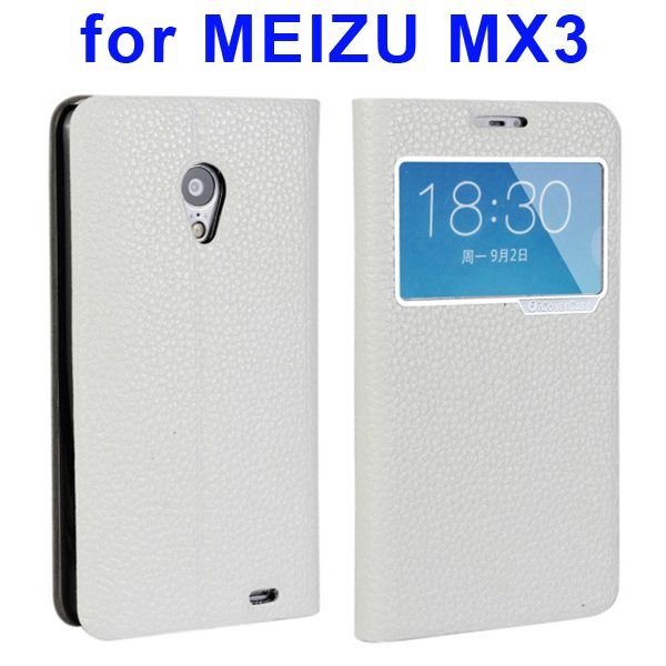 Litchi Texture Genuine Leather Cover for MEIZU MX3 with Caller ID Display Window (White)